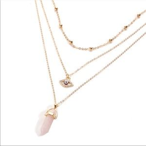 Evil eye Rose quartz layered necklace